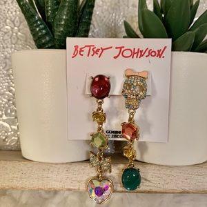 Betsey Johnson Skull And Bow Dangle Earrings